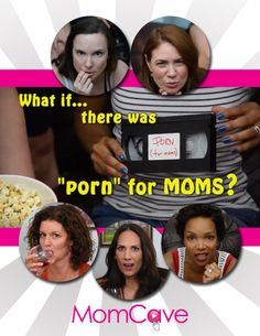 Naughty moms from MomCaveTV.com holding a video cassette that says  Porn For Moms