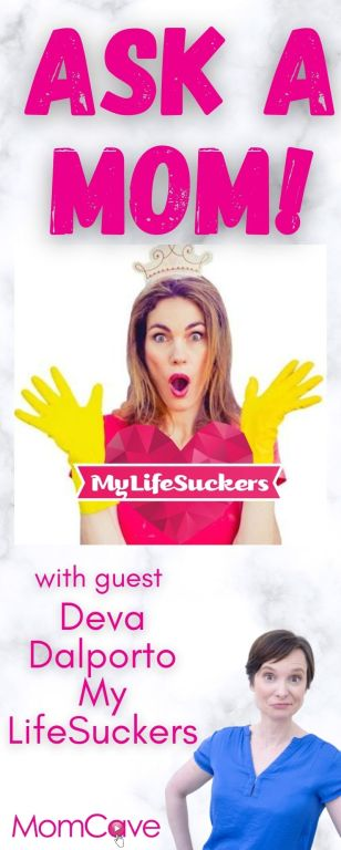 My Lifesuckers Deva Dalporto on Ask a Mom on MomCave LIVE photo with crown and yellow dishwashing gloves