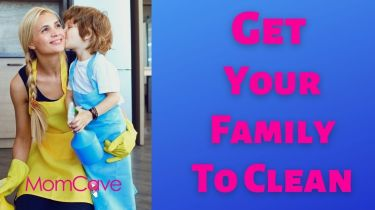 Mom hugs son while cleaning Get Your Family To Clean