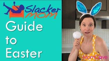 Easter Mom Hacks mom wearing bunny ears and Easter dress standing in kitchen slacker mom momcave