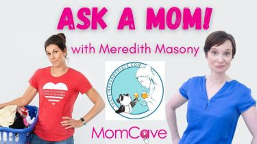 meredith masony from thats inappropriate holding laundry basket next to ask a mom momcave