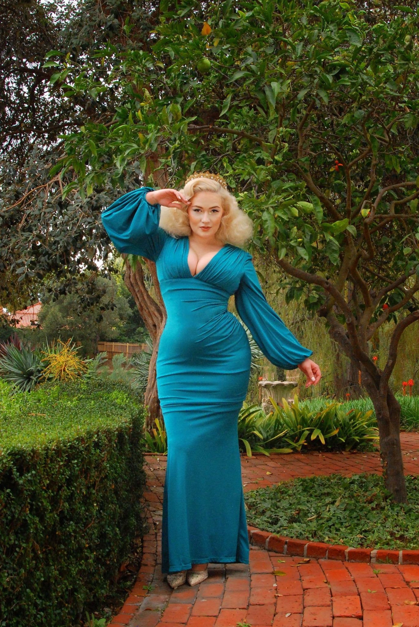 Retro Maternity Dress with Long Sleeves from Laura Byrnes PinUp Girl Clothing