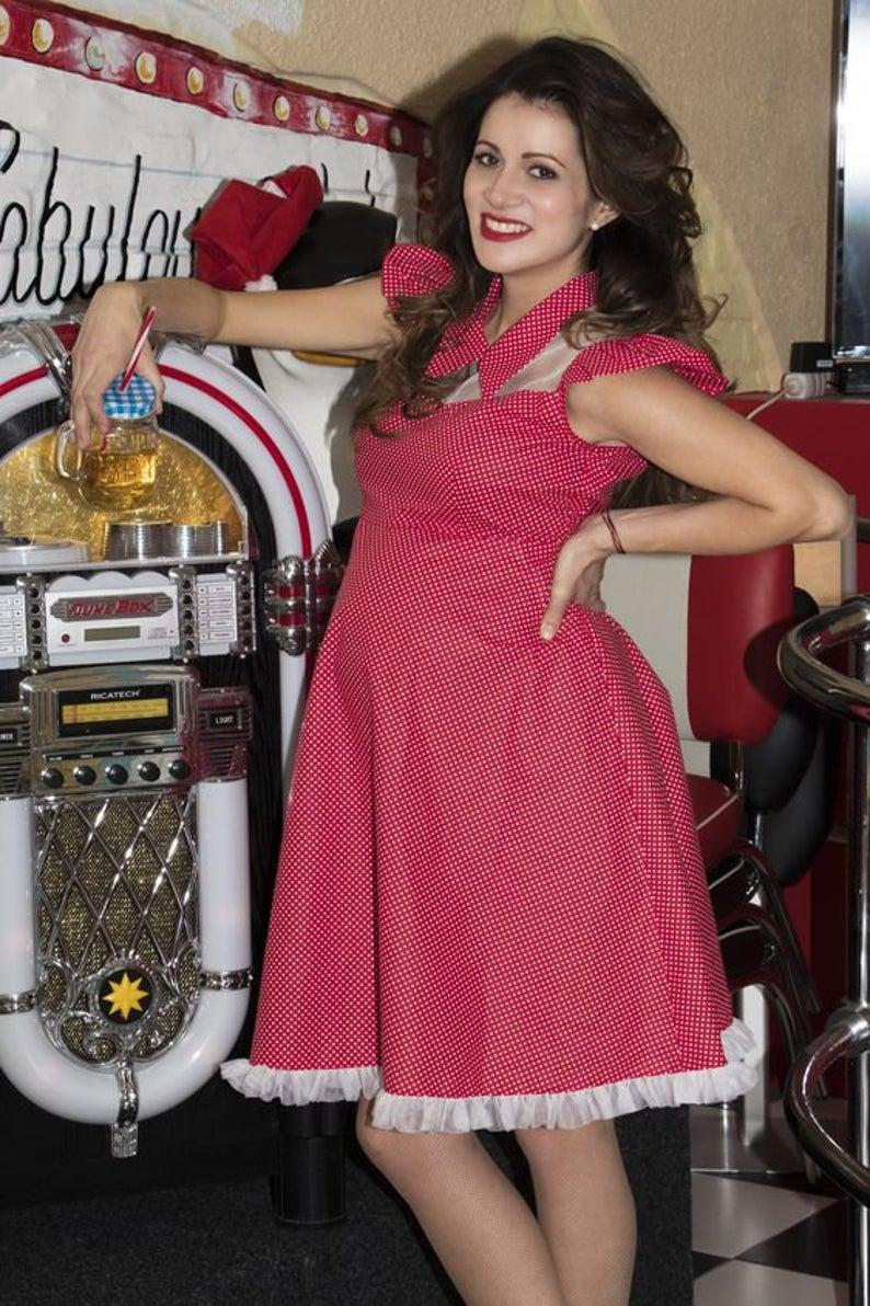 Retro Polka Dot Maternity Dress Red and White