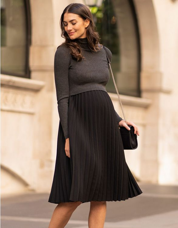 hottest retro maternity dress pleated skirt and long sleeves black and gray from seraphine