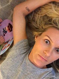 overwhelmed blonde mom laying on floor, Monika Casey on MomCave Live MomCaveTV.com Funny Moms