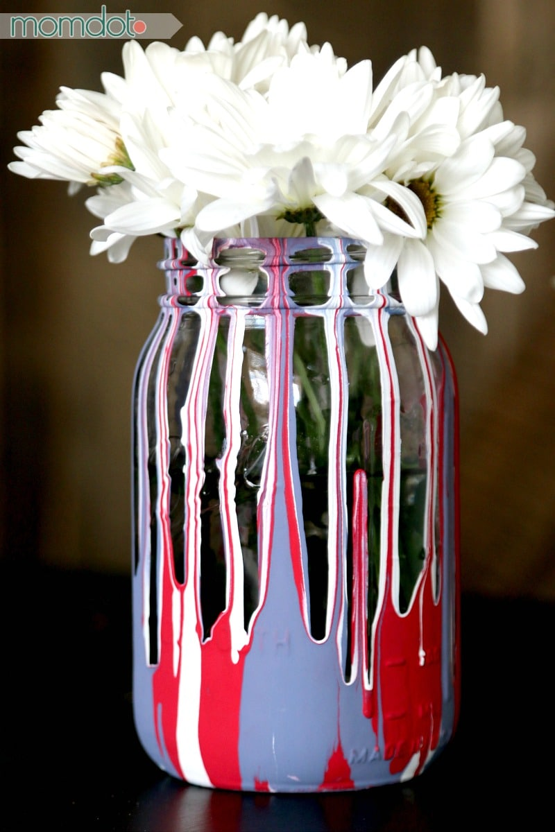 Mason Jars White Blue And Painting Red