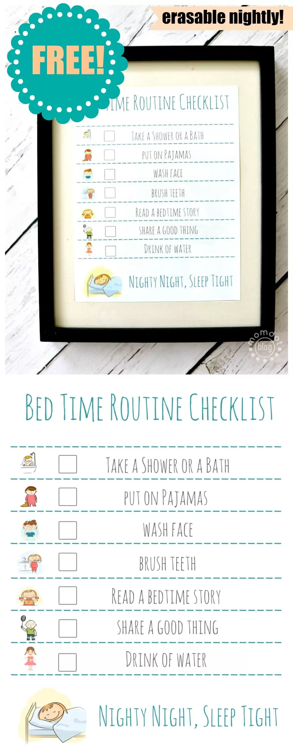 Bed Time Routine Checklist Free Printable