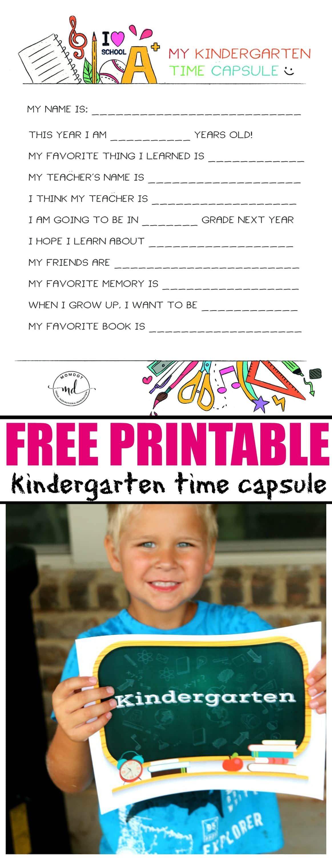 Kindergarten Time Capsule Free Printable