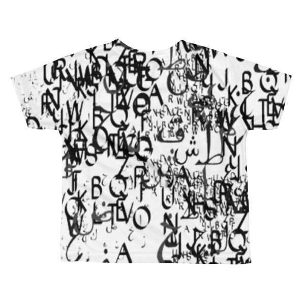 abstract typography -1 -All-over kids sublimation T-shirt-02