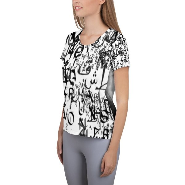 abstract typography -1 -All-Over Print Women's Athletic T-shirt-04