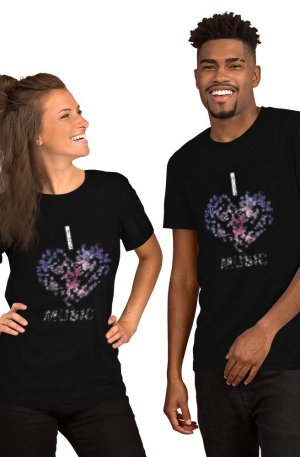 I love Music -Short-Sleeve Unisex T-Shirt-black