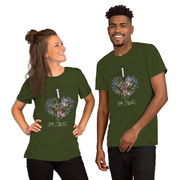 I love Music - Short-Sleeve Unisex T-Shirt - Olive