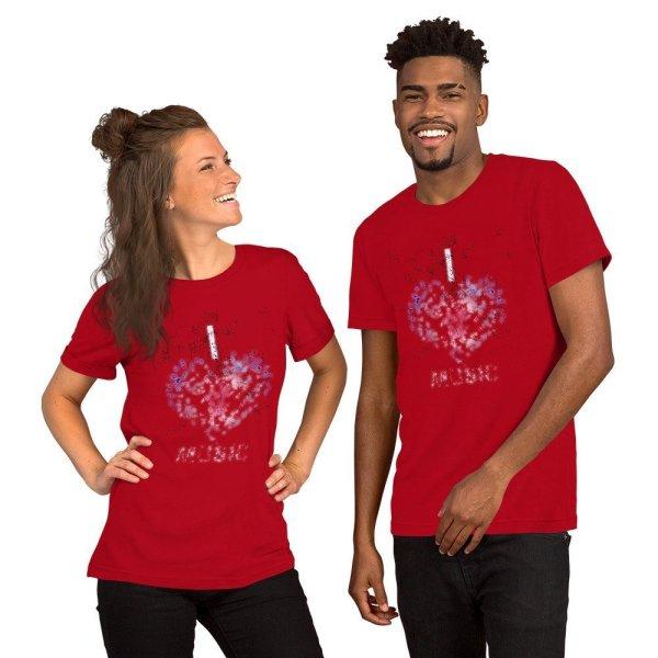 I love Music - Short-Sleeve Unisex T-Shirt - Red