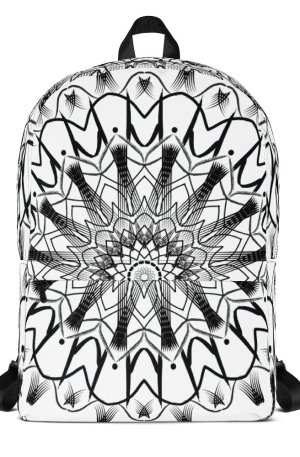 pattern mandala 01 -Backpack-black-on-white-01