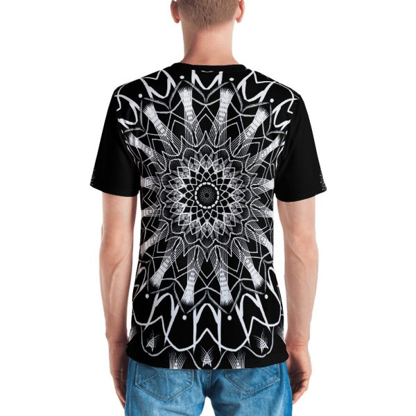 pattern mandala 01 -white on black neck -all over print Men's T-shirt-back