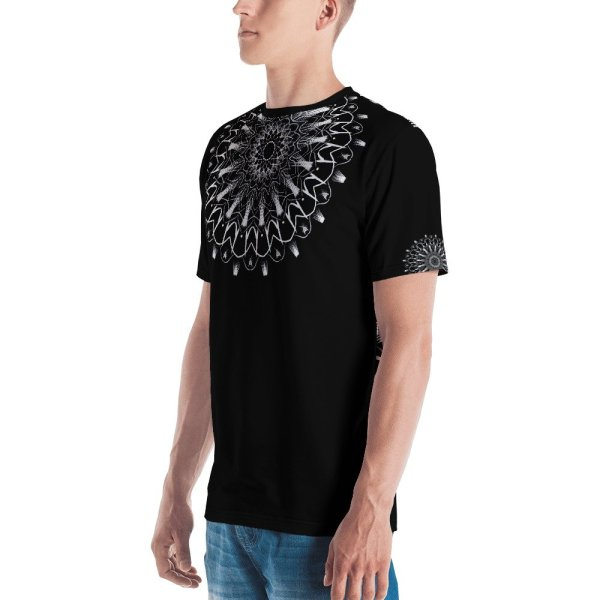 pattern mandala 01 -white on black neck -all over print Men's T-shirt-right
