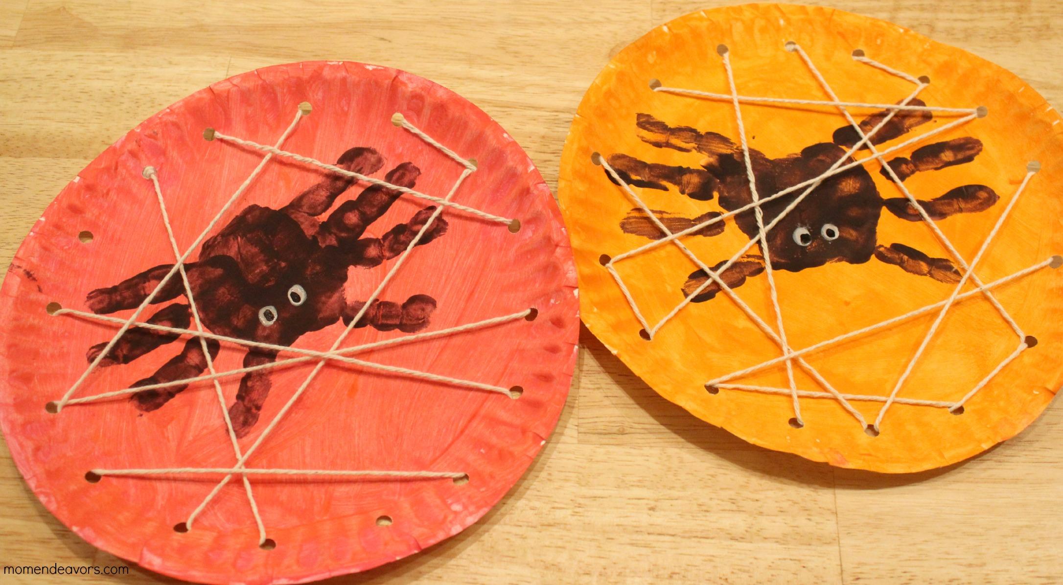 Halloween Kids Craft Handprint Spiders In A Diy Lacing