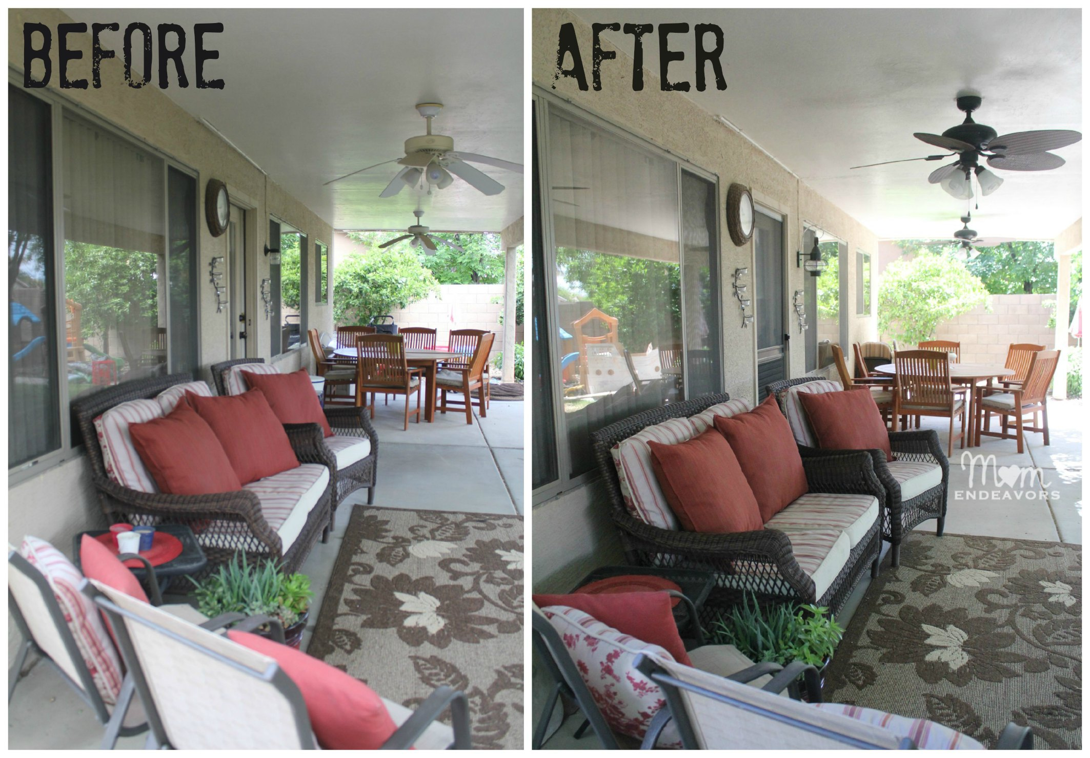 Patio Lighting & Ceiling Fan Makeover #LowesCreator on Backyard Patio Makeover id=36486