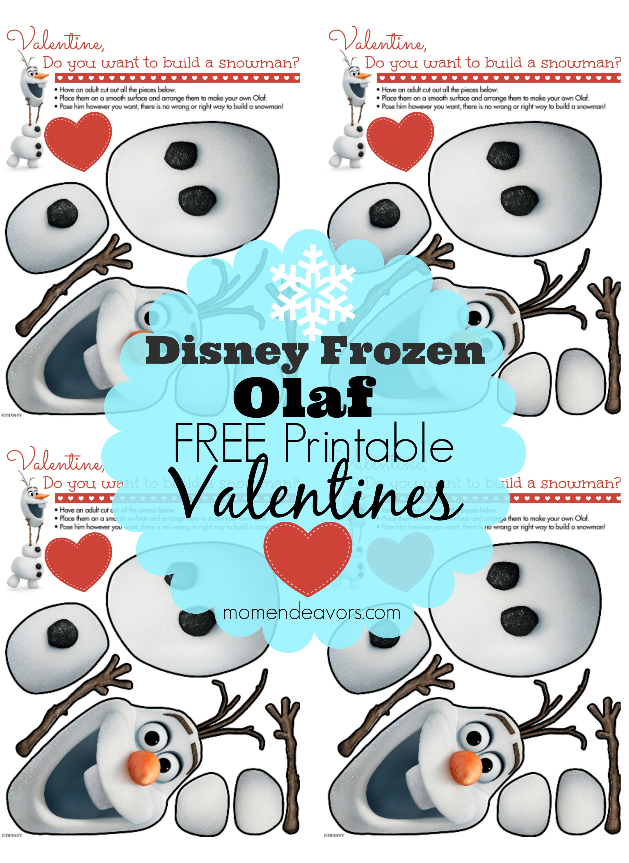 Disney Frozen Free Printable Olaf Valentines