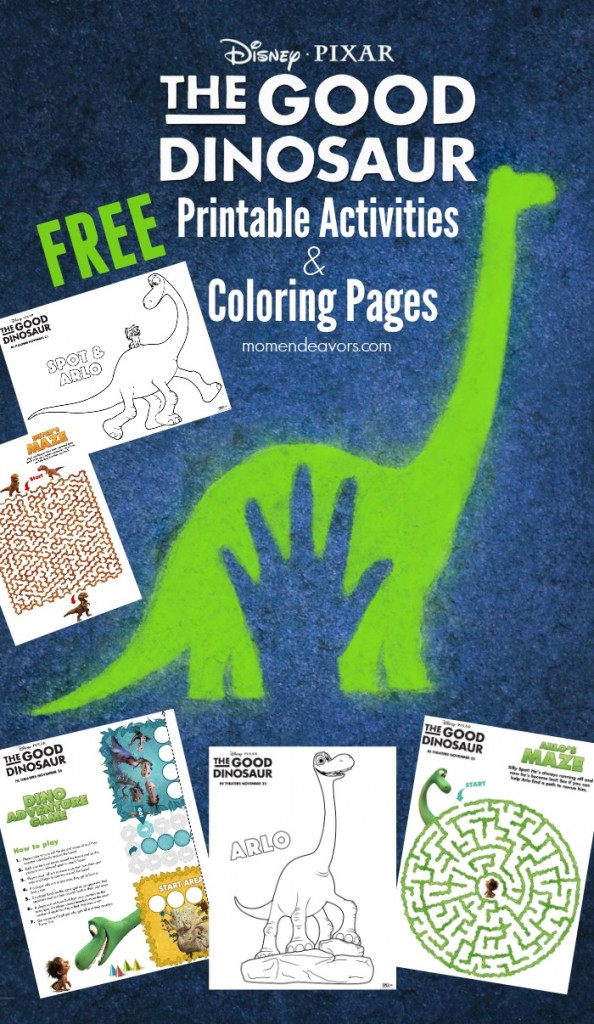 Disney pixar good dinosaur printable activities, coloring pages i love you mom