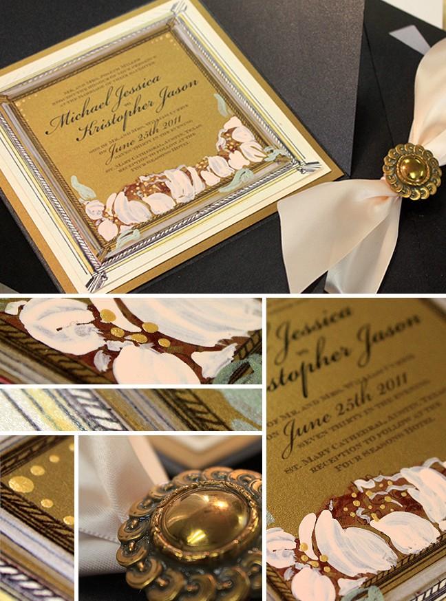 Custom Menu Card Gold Vintage Glamour