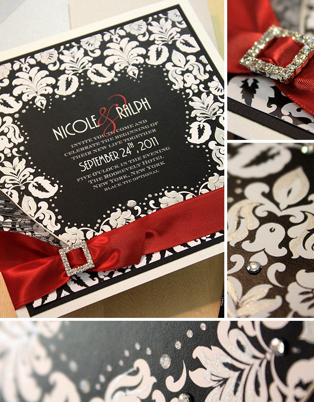 White Black Invitations Wedding And Trees