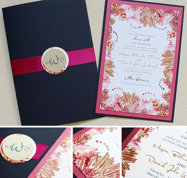 Wedding Invitation Fuchsia Fl Peony Design