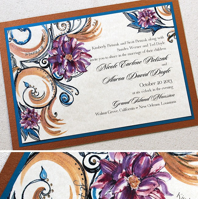 Gorgeous Beachthemed Wedding Invitations That Were Totally Diy New Orleans Themed Invitation Wording