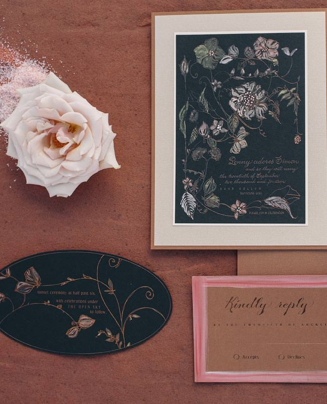 Elegant Navy Blue Rose Gold Fl Wedding Info Card
