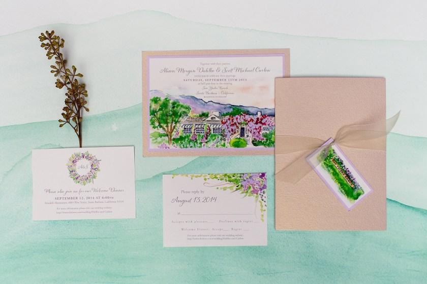 Pin It San Ysidro Ranch Watercolor Wedding Invitation