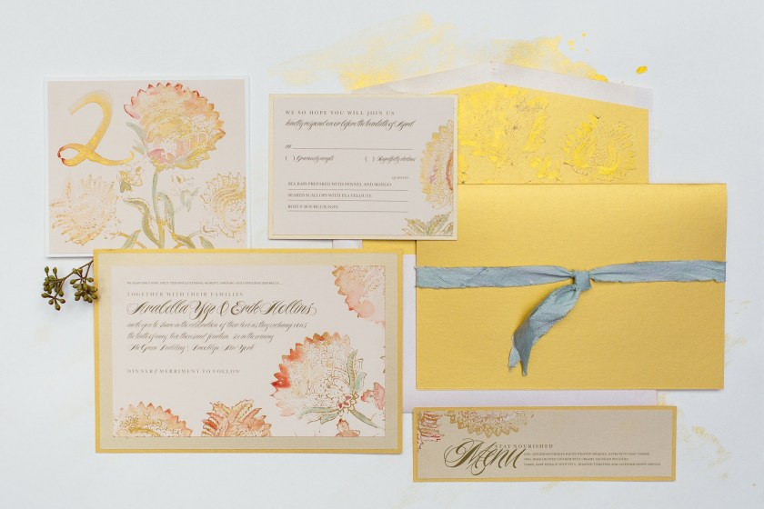 Pin It Vine Poppies Gold Amber Watercolor Wedding Invitation