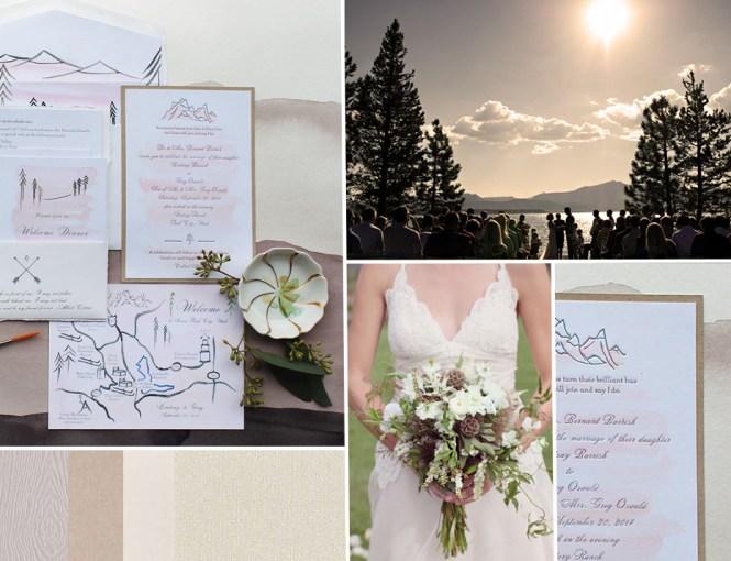 Lake Tahoe Hand Ilrated Wedding Invitation Momental
