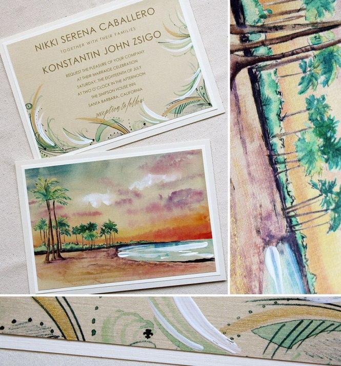 Nikki C Watercolor Beach Wedding