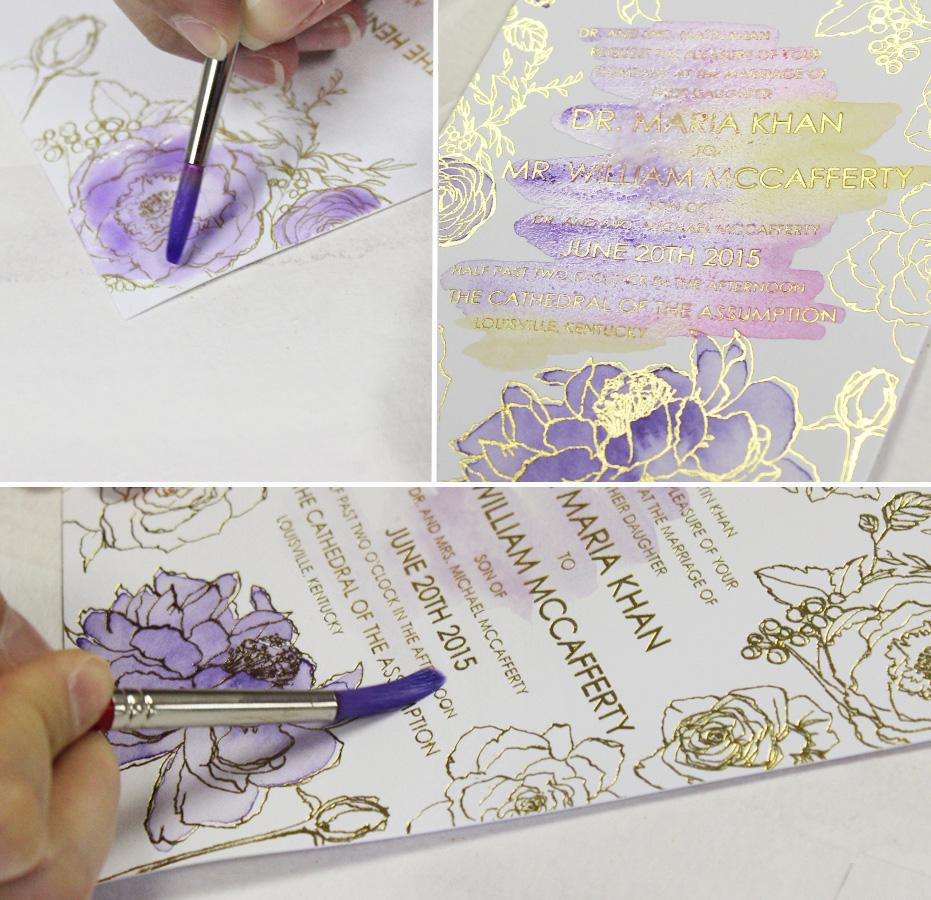 A Peek Into The Studio Purple Glam Watercolor Wedding