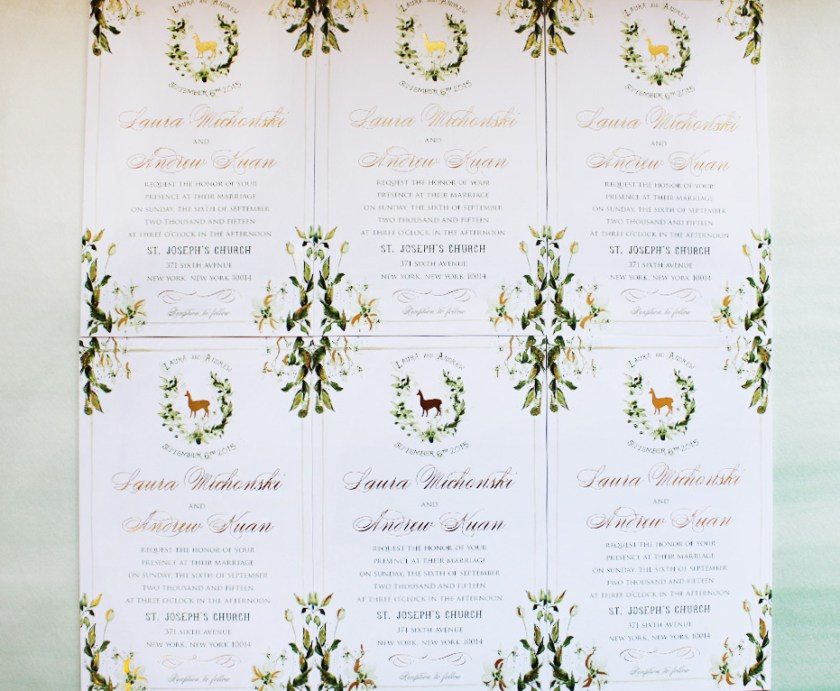 Pin It Watercolor Foil Botanical Wedding Invitation