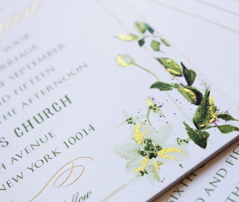 Pin It Watercolor Foil Botanical Wedding Invitation