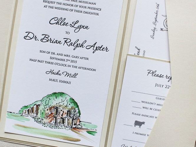 Letterpress Emby Laurel Wedding Invitation