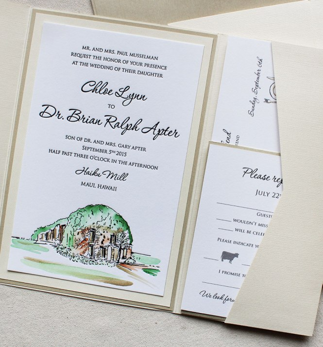 A K Into The Studio Watercolor And Letterpress Wedding