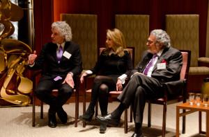 From left, Steven Pinker, Rebecca Newberger Goldstein and Leon Fleisher
