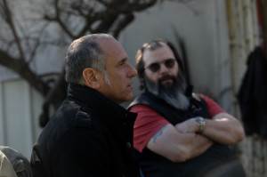David Broza (left) stands with American singer Steve Earle, who produced Broza's latest album.