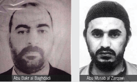 Abu Bakr al Baghdadi and Abu Musab al Zarqawi mugshots