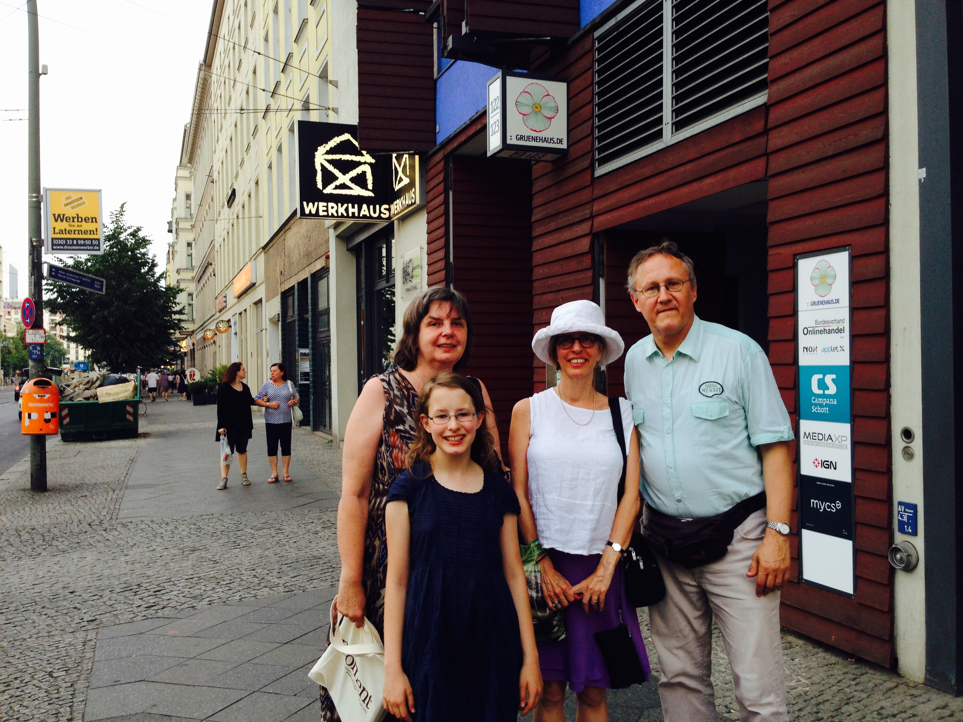 Moment Editor Nadine Epstein with Christof and Dagmar and their daughter in Berlin