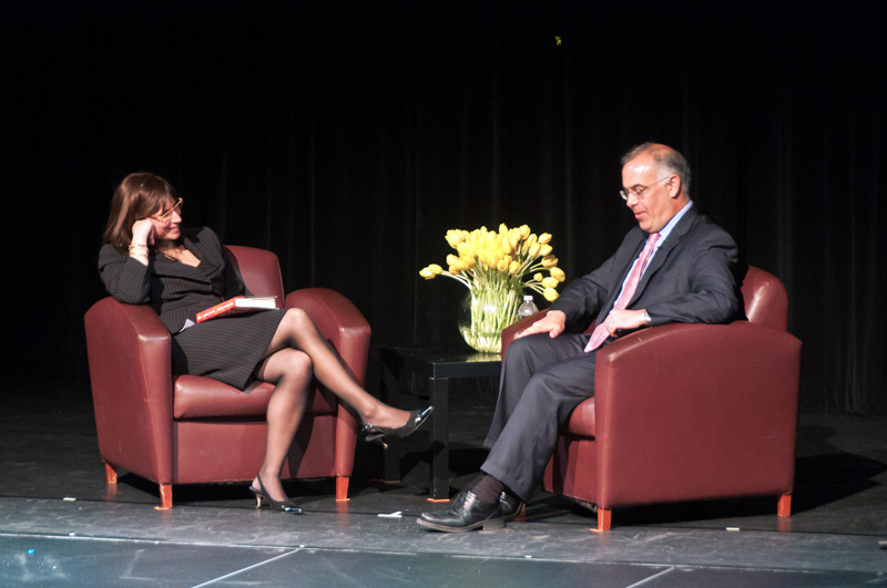 Orthodox scholar Erica Brown interviewed David Brooks in 2011. Brooks has participated in a study group run by Brown in Washington, DC.