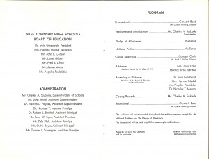 Our Niles West Commencement program . Chaos broke out shortly after the choral selection.