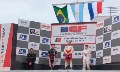 Podio de la segunda carrera de la Euroformula Open 2018 en el circuito de Estoril. Siebert se llevó la victoria.