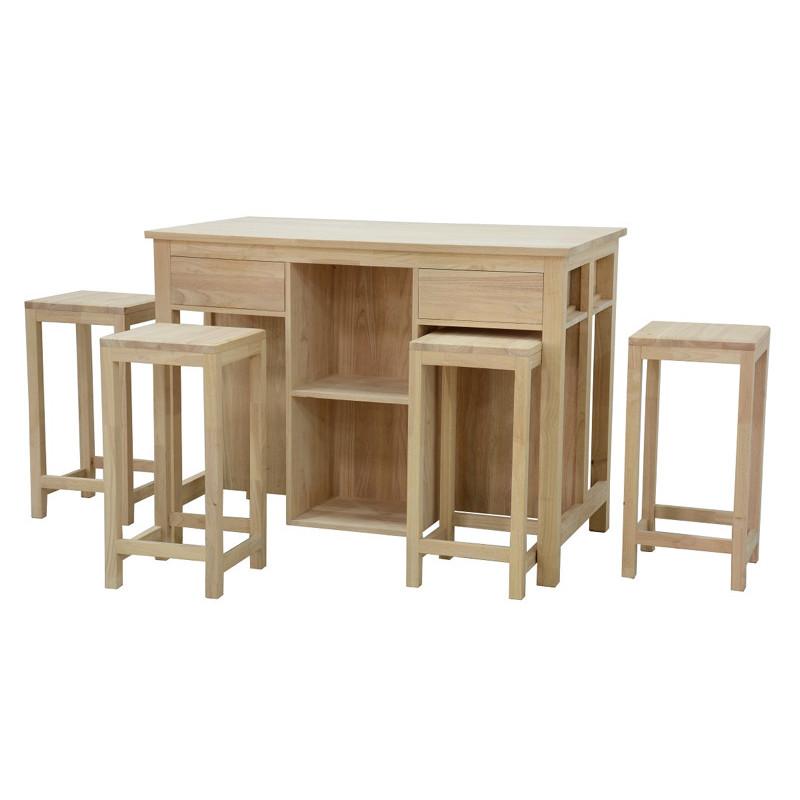 ensemble de table de cuisine avec 4 tabourets couleur hevea naturalhuv matiere hevea dimension 120x90x70