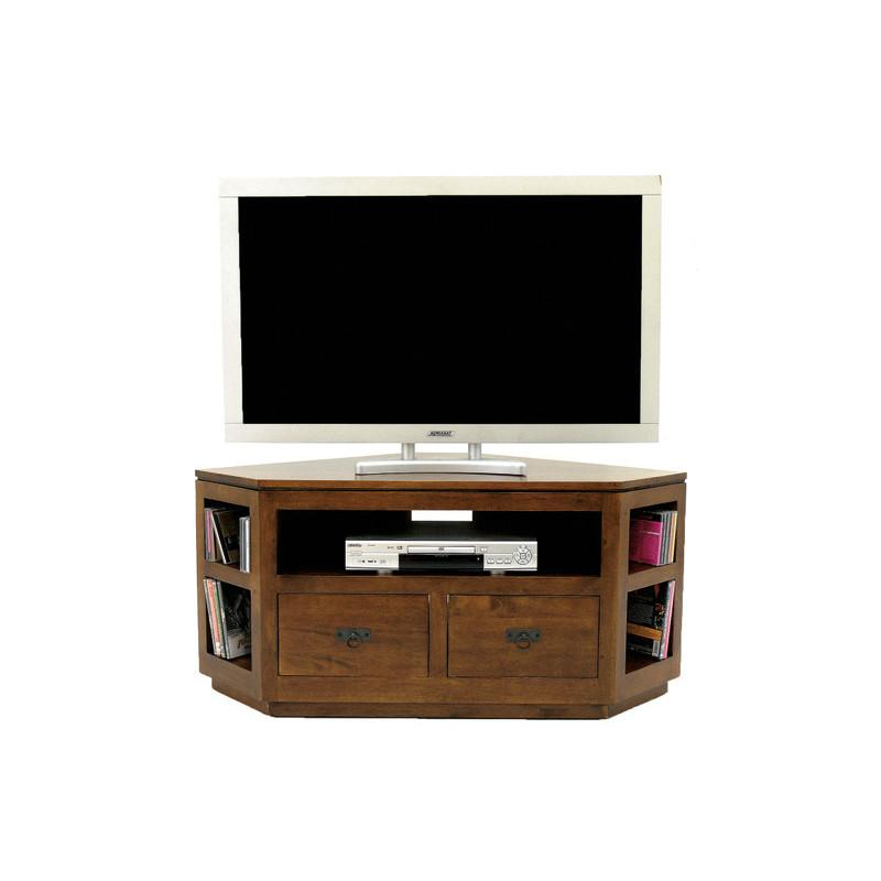 meuble tv de coin 2 tiroirs et etageres pour hifi couleur hevea naturalhuv matiere hevea dimension 120x55x70