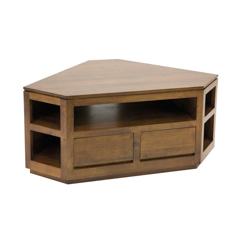 meuble tv de coin couleur hevea naturalhuv matiere hevea dimension 120x55x70