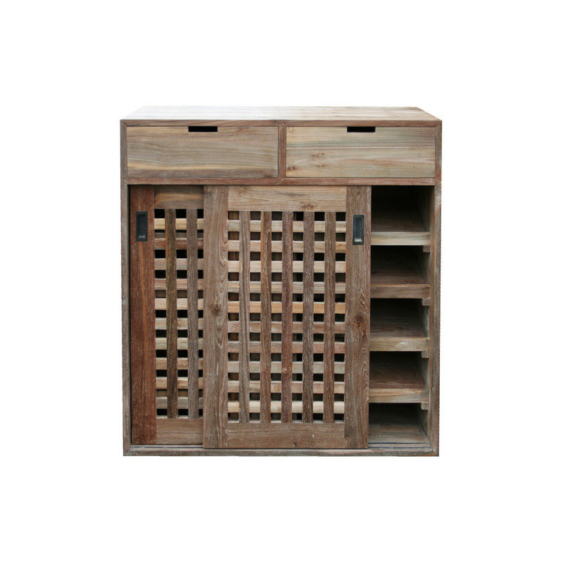 lelo meuble pour rangement de chaussures couleur oldteak natural matiere teck ancien recycle dimension 120x100x40