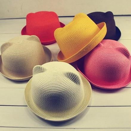 Baby Summer Straw Hats with Ears